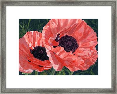 Framed Print featuring the painting Peachy Poppies by Lynne Reichhart