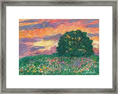 Peachy Sunset Framed Print by Kendall Kessler