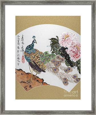 Peacock And Peony Framed Print by Linda Smith