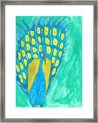 Peacock Framed Print by Artists With Autism Inc