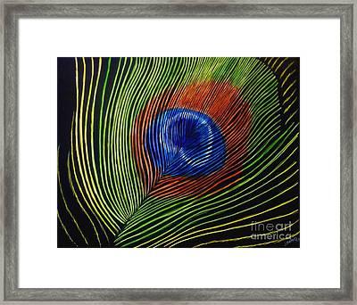 Peacock Feather Framed Print by Jennifer Jeffris