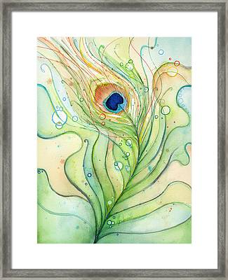 Peacock Feather Watercolor Framed Print by Olga Shvartsur
