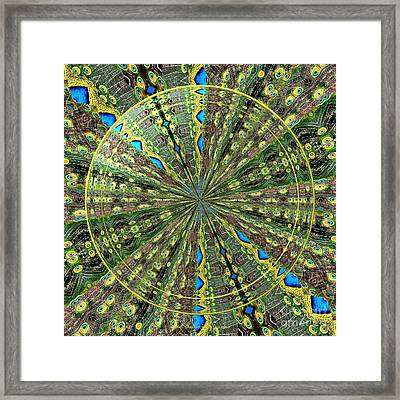 Peacock Feathers Kaleidoscope Under Glass 3 Framed Print