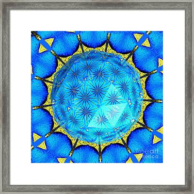 Peacock Feathers Under Polyhedron Glass 2 Framed Print