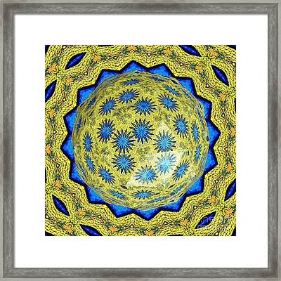 Peacock Feathers Under Polyhedron Glass 3 Framed Print