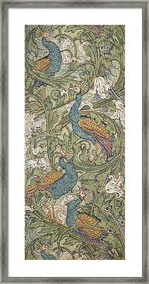 Peacock Garden Wallpaper Framed Print