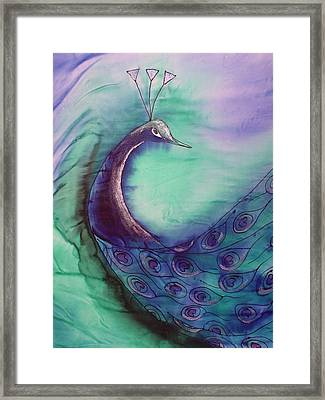 Peacock In Blue Framed Print