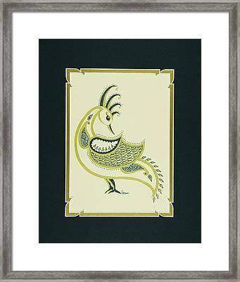 Peacock In Green Right Facing Framed Print