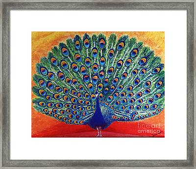 Framed Print featuring the painting Peacock By Jasna Gopic by Jasna Gopic
