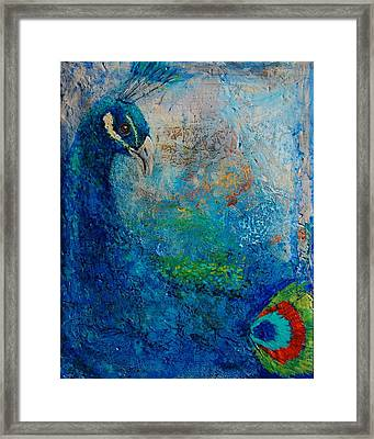 Peacock Framed Print by Jean Cormier