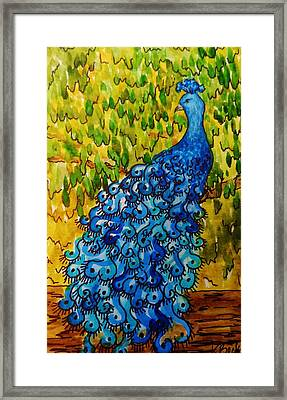 Framed Print featuring the painting Peacock by Katherine Young-Beck