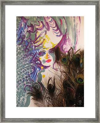 Peacock Lady Framed Print by Charles Dancik