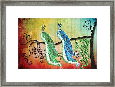 Framed Print featuring the digital art Peacock Love by Kim Prowse