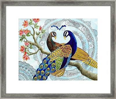 Peacock Love Framed Print by Susy Soulies