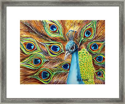 Peacock Framed Print by Maria Barry