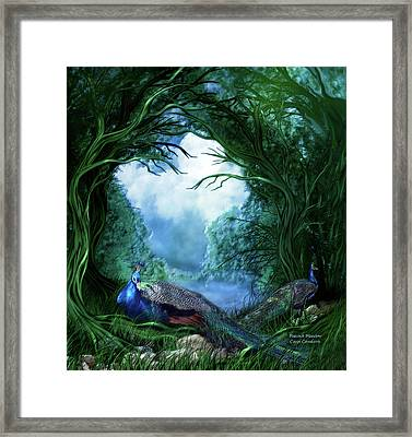 Framed Print featuring the mixed media Peacock Meadow by Carol Cavalaris