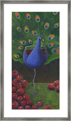 Peacock Pinot Framed Print by Debbie McCulley