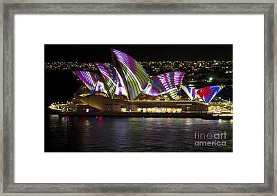 Peacock Sails - Sydney Vivid Festival - Sydney Opera House Framed Print by Bryan Freeman