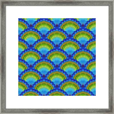 Peacock Scallop Feathers Framed Print