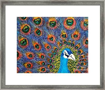 Peacock Framed Print by Tracy Lynn Davies