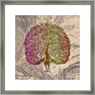 Peacock With Rainbow Colors Framed Print