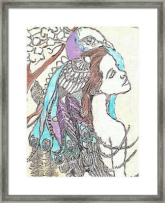 Peacock Woman 2 Framed Print by Amy Sorrell