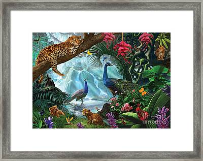Peacocks And Leopards Framed Print