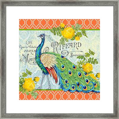 Peacocks In The Rose Garden-3 Framed Print by Jean Plout