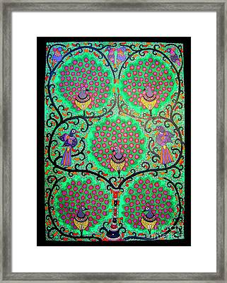 Peacocks-madhubani Painting Framed Print