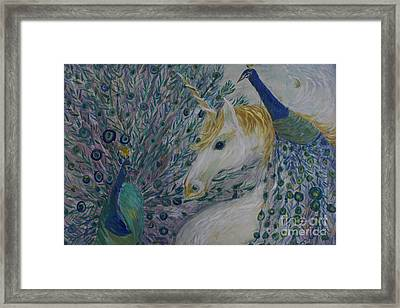 Peacocks With Unicorn Framed Print