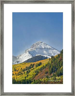 Peak After First Snow Rocky Mts Colorado Framed Print by Yva Momatiuk John Eastcott
