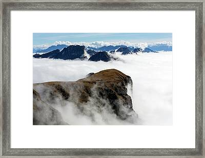 Peaks Surrounded By Sea Of Fog Framed Print by Dr Juerg Alean