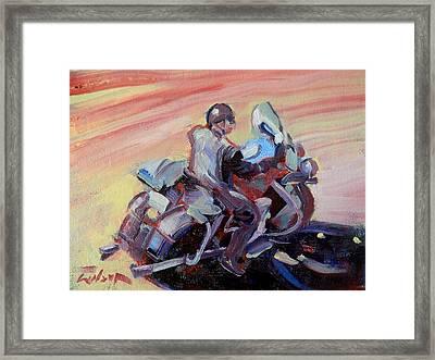 Peanut Lid Biker - Skid Lid Helmet Framed Print by Ron Wilson