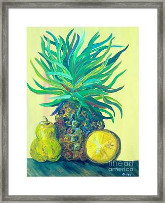 Pear And Pineapple Framed Print by Eloise Schneider