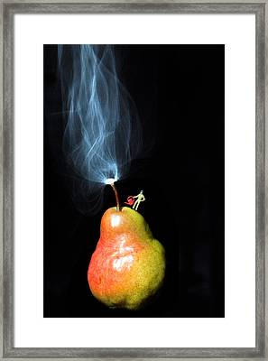 Pear And Smoke Little People On Food Framed Print by Paul Ge