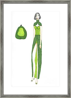 Pear Inspired Evening Dress Framed Print by Asia Johnson