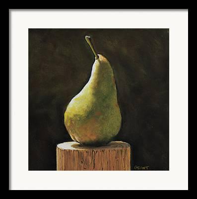 Pear On Block Of Wood Framed Prints