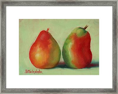 Framed Print featuring the painting Pear Pair by Margaret Stockdale