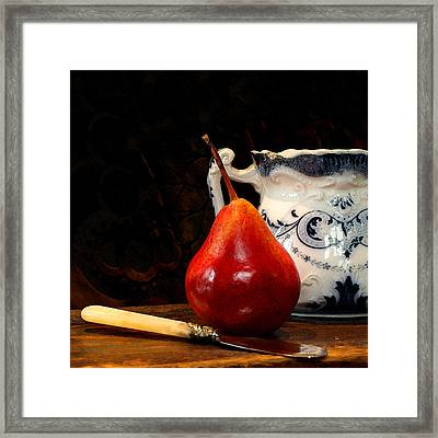 Pear Pitcher Knife Framed Print