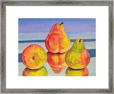 Pear Reflection Framed Print by Kenneth Cobb