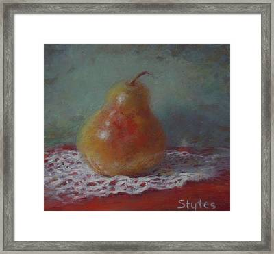 Pear Still Life Framed Print by Nancy Stutes