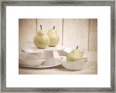 Pear Still Life With White Plates Framed Print by Edward Fielding
