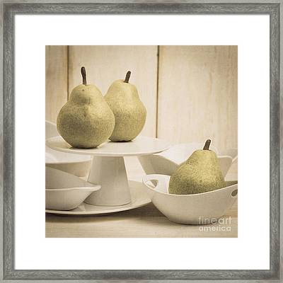 Pear Still Life With White Plates Square Format Framed Print by Edward Fielding