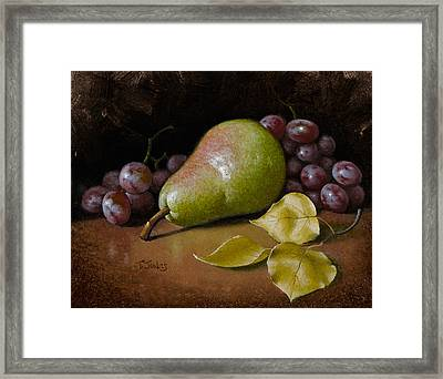 Pear With Birch Leaves Framed Print by Timothy Jones