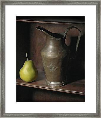Framed Print featuring the photograph Pear With Water Jug by Krasimir Tolev
