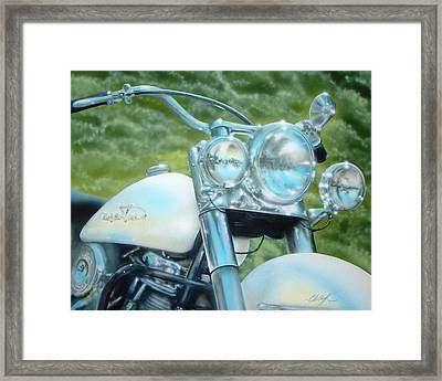 Framed Print featuring the painting Pearl And Chrome by Chris Fraser
