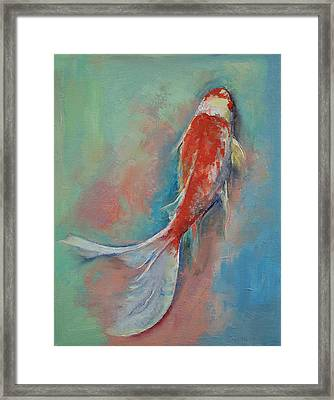 Pearl Banded Koi Framed Print by Michael Creese