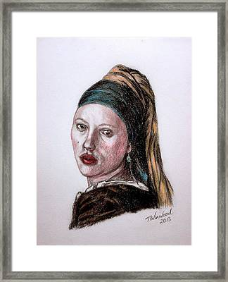 Pearl Earing Framed Print by Tricia Winwood