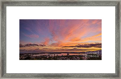 Framed Print featuring the photograph Pearl Harbor At Sunset by Aloha Art