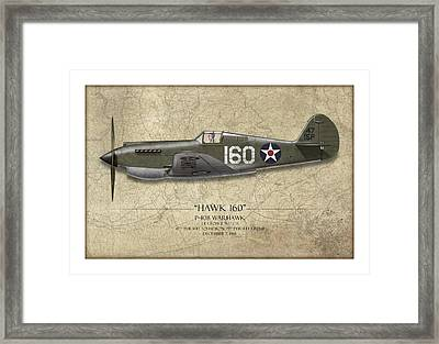 Pearl Harbor P-40 Warhawk - Map Background Framed Print